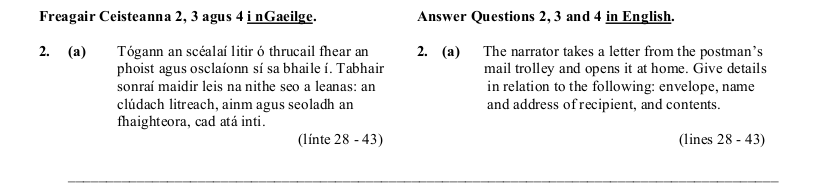 2005 LC Higher Reading Comprehension Q2a