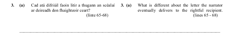 2005 LC Higher Reading Comprehension Q3a