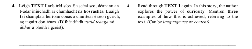 2005 LC Higher Reading Comprehension Q4