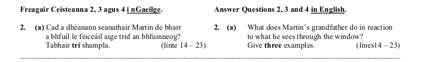 2006 LC Higher Reading Comprehension Q2a