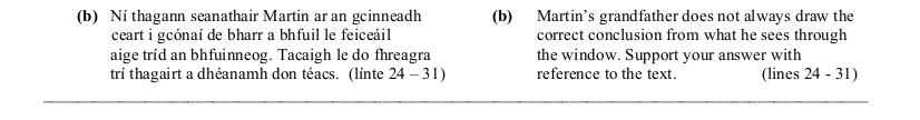 2006 LC Higher Reading Comprehension Q2b