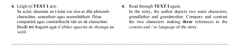 2006 LC Higher Reading Comprehension Q4