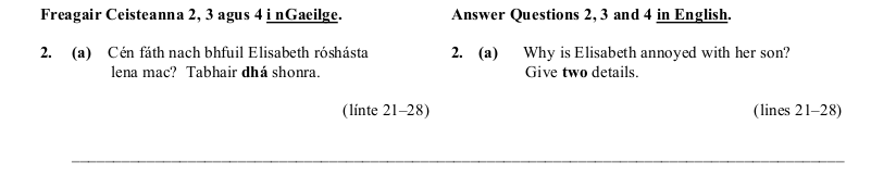 2007 LC Reading Comprehension Q2a