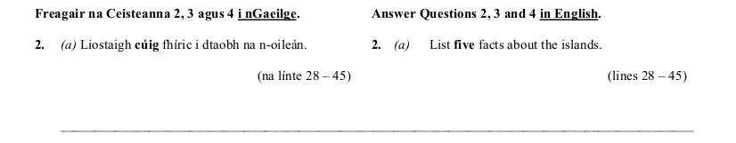 2009 LC Higher Reading Comprehension Q2a