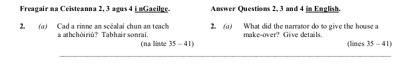 2010 LC Higher Reading Comprehension Q2a