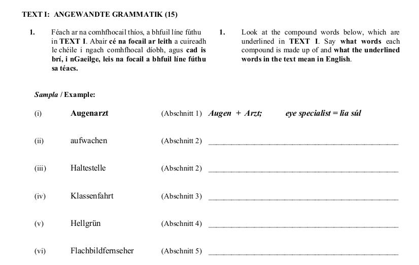 2009 LC Ordinary German Angewandte Grammatik