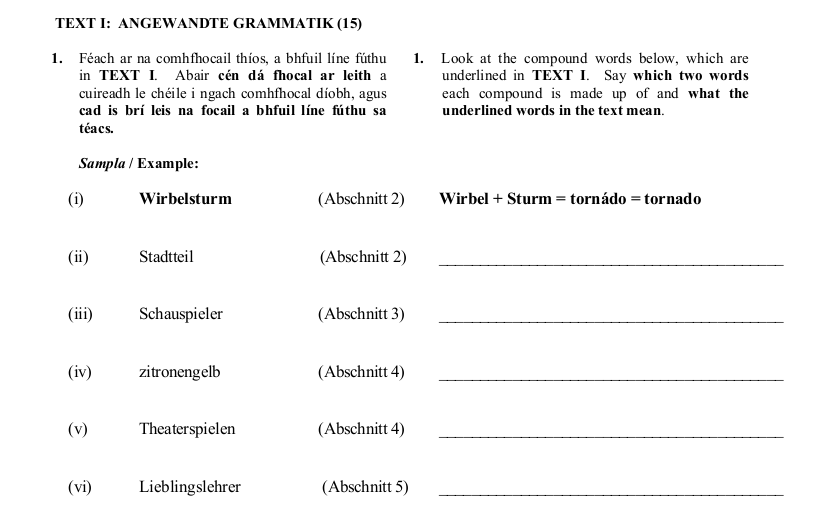 2010 LC Ordinary German Angewandte Grammatik
