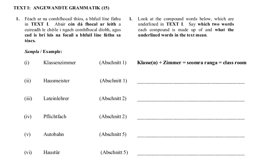 2012 LC Ordinary German Angewandte Grammatik