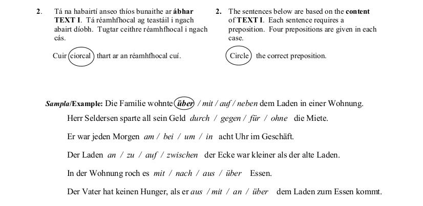 2013 LC Ordinary German Angewandte Grammatik