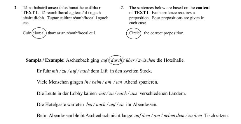 2014 LC Ordinary German Angewandte Grammatik