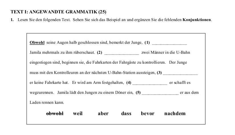 2016 German Leaving Cert Angewandte Grammatik