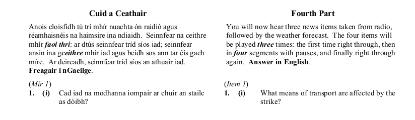 2016 German Leaving Cert Aural Exam