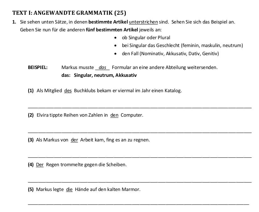 artikel plural deutsch