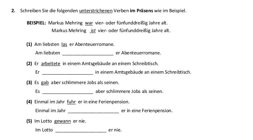 2017 German Leaving Cert Angewandte Grammatik